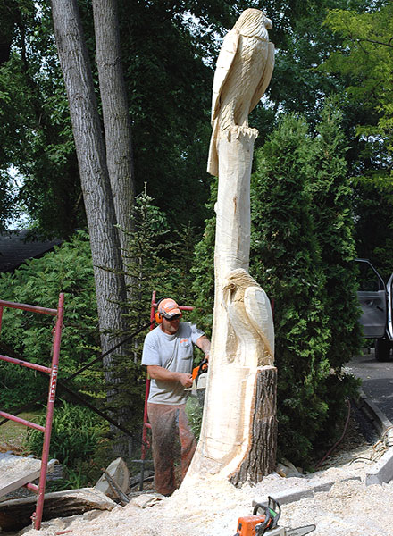 Chainsaw art in minnesota by perry carlson wood carver mn